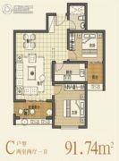 丽彩・溪悦城2室2厅2卫91平方米户型图
