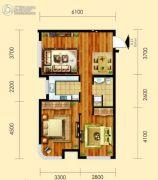 御园2室2厅1卫80平方米户型图