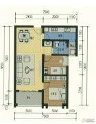 俊发湾流海2室2厅1卫77平方米户型图