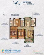 常绿林溪美地3室2厅2卫122平方米户型图