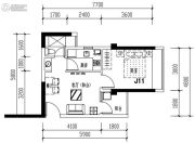 华发城建未来荟1室2厅1卫44平方米户型图