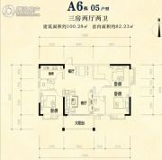 半山郡3室2厅2卫100平方米户型图