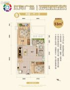 江海广场-万兴隆国际公寓2室1厅1卫53平方米户型图