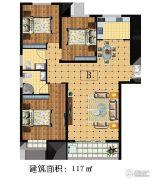 林溪湾3室2厅2卫117平方米户型图