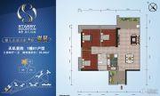 越秀・星汇名庭3室2厅1卫95平方米户型图