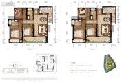 东原・观天下3室2厅2卫102平方米户型图