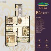 山水龙城天悦2室2厅1卫77平方米户型图