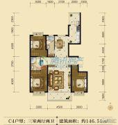 联邦御景江山3室2厅2卫146平方米户型图