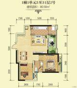 绵阳CBD万达广场2室2厅1卫80平方米户型图