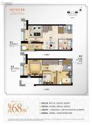 万科尚城3室2厅2卫68平方米户型图