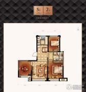 京贸国际公馆2室2厅1卫90平方米户型图