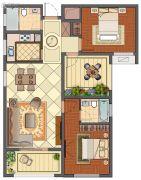 班芙春天2室2厅2卫106平方米户型图