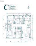 鲁能泰山7号4室2厅2卫136平方米户型图