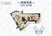 碧桂园・滨海城1室2厅1卫55平方米户型图
