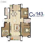 汉峪海风3室2厅2卫143平方米户型图