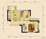 世茂城1室2厅1卫50平方米户型图