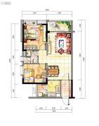 时代紫林2室2厅1卫78平方米户型图