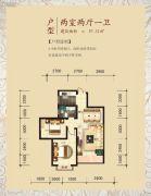 城市1号2室2厅1卫0平方米户型图
