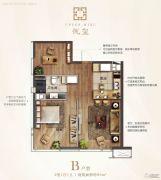 青岛华润中心悦玺2室1厅1卫95平方米户型图