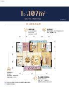 碧桂园华润・新城之光4室2厅2卫107平方米户型图