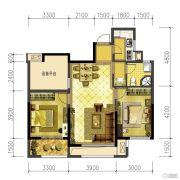 信达香格里3室2厅1卫88平方米户型图