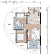 悦榕湾2室1厅1卫75平方米户型图