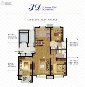 万科如园3室2厅2卫125平方米户型图