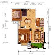 磁湖南郡3室2厅1卫84平方米户型图