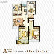 恒威中央领地3室2厅1卫114平方米户型图