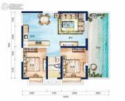 宝安虹海湾2室1厅1卫87平方米户型图