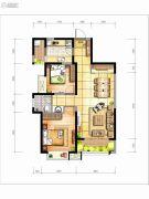 坤元TIME2室2厅1卫90平方米户型图