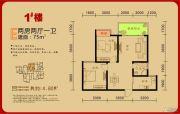中糖・大城小院2室2厅1卫75平方米户型图