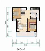 书香河畔2室1厅1卫84平方米户型图