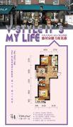 V街区2室2厅1卫69平方米户型图