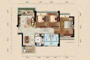 正德天水湖3室2厅2卫89平方米户型图