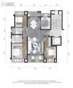 龙湖景粼玖序3室2厅2卫100平方米户型图