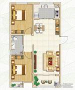 林荫春天2室2厅1卫85平方米户型图