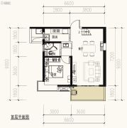 保利天禧2室2厅1卫107平方米户型图