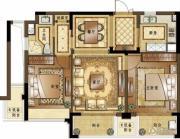 融创常州御园2室2厅1卫86平方米户型图