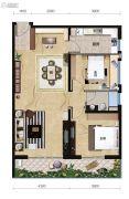 中信国安北海第一城2室2厅1卫108平方米户型图