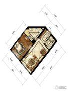 中海枫丹公馆1室1厅1卫72平方米户型图