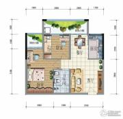 昆明广场2室2厅1卫74平方米户型图