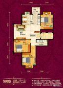 恒祥城3室2厅1卫89平方米户型图