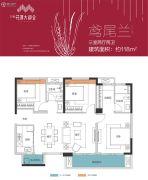 万科花溪大都会3室2厅2卫118平方米户型图