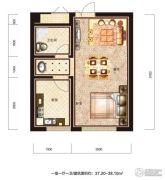 恒威滨江国际1室1厅1卫37--38平方米户型图