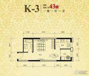 恒盛豪庭1室1厅1卫43平方米户型图