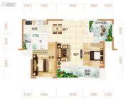 东方美地3室2厅1卫98平方米户型图