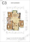 空港花城3室2厅2卫137平方米户型图