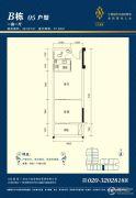 汇东美居1室1厅1卫49平方米户型图