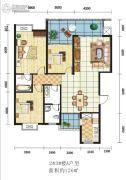 绿洲花园3室2厅2卫126平方米户型图